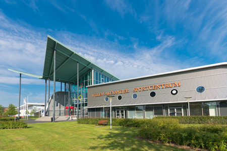 groningen: GRONINGEN, NETHERLANDS - AUGUST 22, 2015: Willem-Alexander sports center exterior of the groningen university.