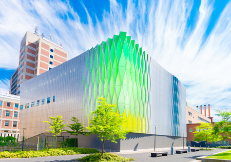 groningen: GRONINGEN, NETHERLANDS - AUGUST 22, 2015: Exterior of a modern building of the UMCG, the medical center of the groningen university Editorial