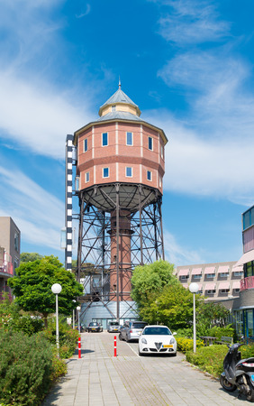 substructure: GRONINGEN, NETHERLANDS - AUGUST 22, 2015: Old water tower exterior. The North tower is the first water tower in the Netherlands with a steel substructure. Of this type are only three built in the country.