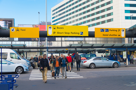 AMSTERDAM - AUGUST 28, 2015:  Taxi stand in front of amsterdam schiphol airport.