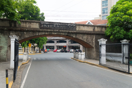 historical sites: gate to Intramuros in Manila, Philippines. Intramuros is the monumental spanish part of Manila