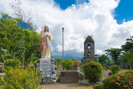 mayon: Jesus sculpture in front of the Cagsawa Ruins, the remnants of an 18th century Franciscan church, built in 1724 and destroyed by the 1814 eruption of the Mayon Volcano.