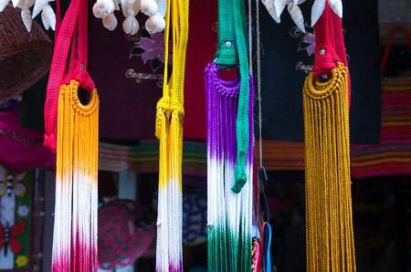 mayon: colorful hammocks at a souvenir shop in the philippines Stock Photo