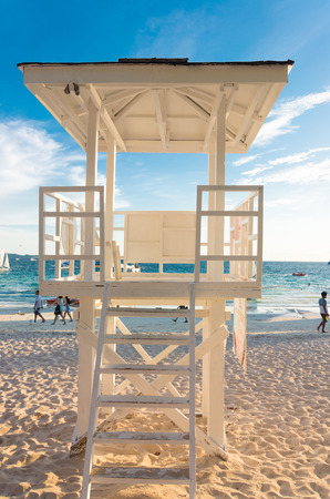 life guard: BORACAY, PHILIPPINES - MAY 20, 2015: white life guard tower on the beautiful white beach of boracay, the main tourist attraction in the philippines