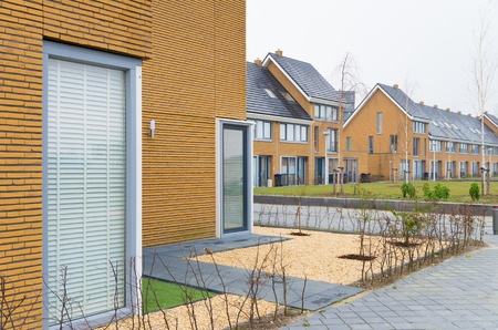 typically dutch: newly build terraced houses in the netherlands