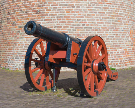 closeup of an old medieval cannon in zwolle, netherlands