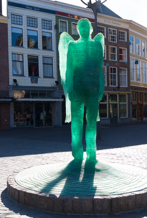 patron: ZWOLLE, NETHERLANDS - MARCH 22, 2015: Archangel Michael, the patron saint of the city. The sculpture measures 3.5 meter and consists of 350 layers of glass. Editorial