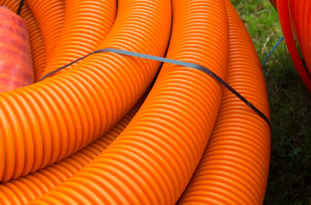 fiberoptic: cable hoses for protecting the fiber cables Stock Photo