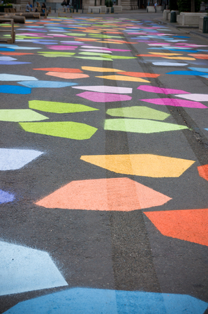 street painting: Colforful street painting in the Brussels center in response to the opening of the new pedestrian areas. Since June 28, 2015 Brussels has the largest pedestrian area of Europe
