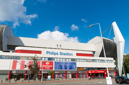 eindhoven: EINDHOVEN, NETHERLANDS - AUGUST 26, 2015: Exterior of the Philips football stadium, home to PSV football club, founded on August 31, 1913. PSV became 22 times dutch champion. Editorial