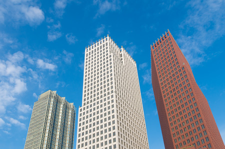 commercial real estate: THE HAGUE, NETHERLANDS - OCTOBER 3, 2015: Modern skyscrapers in the city center of The Hague. The Dutch government and parliament are located in the city, and it is the residence of the royal family