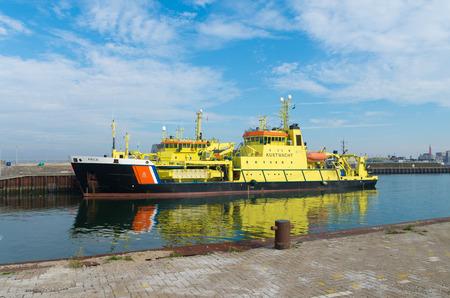 guard ship: SCHEVENINGEN, NETHERLANDS - OCTOBER 3, 2015: Dutch coast guard ship ARCA in the scheveningen harbor