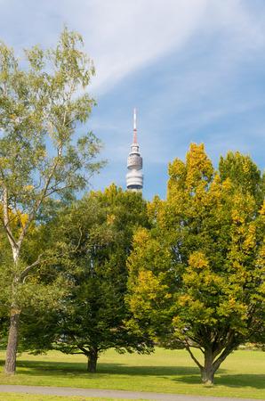 westfalen: DORTMUND, GERMANY - OCTOBER 4, 2015: Florianturm (Florian Tower) in the Westfalen park. Built in 1959 it has a height of 720 ft (219.6m).