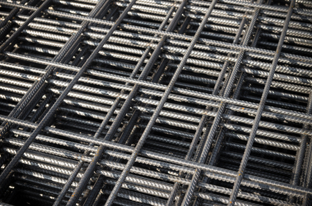 on rebar: closeup of steel mattress used for concrete rebar in the construction industry Stock Photo