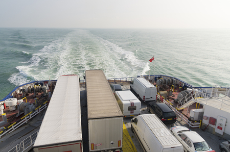 energy channels: Ferry boat crossing the north sea channel from Dunkirk to Dover Stock Photo