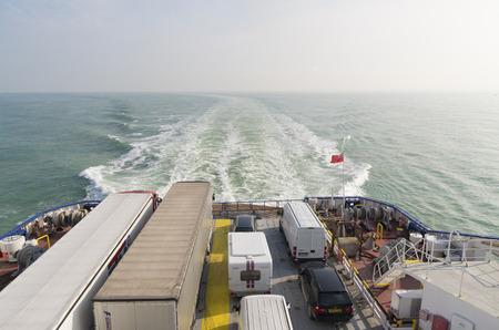 dover: DUNKIRK, FRANCE - OCTOBER 18, 2015: Ferry boat crossing the north sea channel from Dunkirk to Dover Editorial
