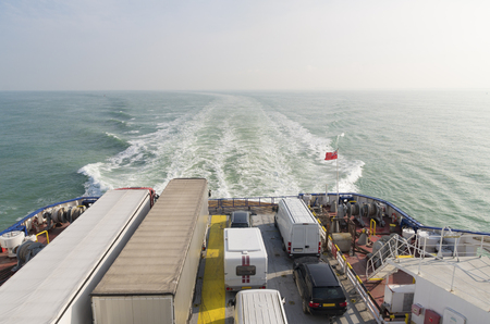 dover: Ferry boat crossing the north sea channel from Dunkirk to Dover Stock Photo