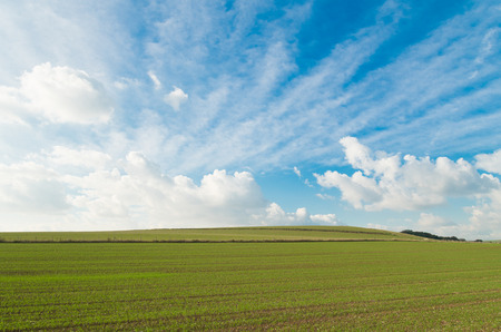 sussex: sloping landscape with clouds and blue sky in sussex, england