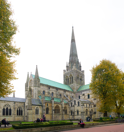 11th century: CHICHESTER, ENGLAND - OCTOBER 22, 2015: Chichester Cathedral, founded in the 11th century, is dedicated to the Holy Trinity, and contains a shrine to Saint Richard of Chichester.