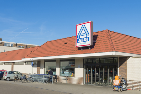albrecht: OLDENZAAL, NETHERLANDS - NOVEMBER 3, 2015: Aldi store exterior. Aldi is an internationally operating German chain of discount supermarkets, founded in 1946 in Essen by the brothers Karl and Theo Albrecht Editorial