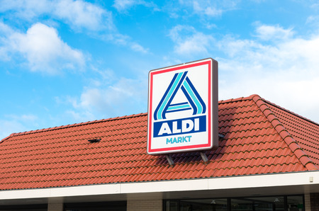OLDENZAAL, NETHERLANDS - NOVEMBER 3, 2015: Aldi store logo. Aldi is an internationally operating German chain of discount supermarkets, founded in 1946 in Essen by the brothers Karl and Theo Albrecht Editorial