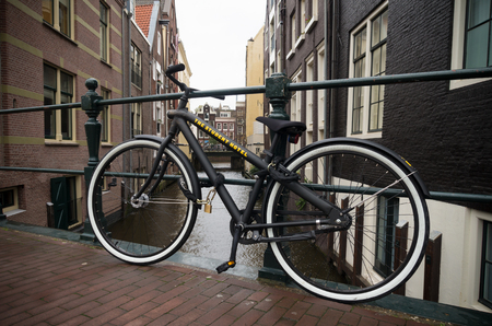 AMSTERDAM, NETHERLANDS - NOVEMBER 15, 2015: Bicycle for borrow belonging to the student hotel, a specialized long or short term stay hotel for students