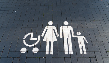 sopping: Parking place at a supermarket only for families with babies or young children