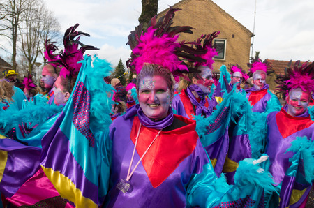 OLDENZAAL, NETHERLANDS - FEBRUARY 7, 2016: Unknown person in funny carnival dress during the annual carnival parade