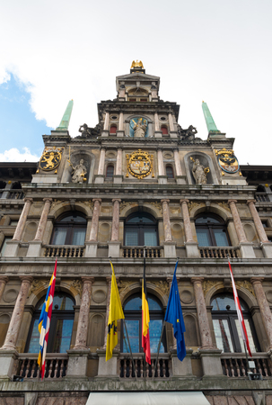 guild hall: facade of the antwerp city hall at the grand market square