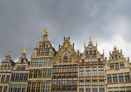 house gables: facades of monumental houses at the grand market square in antwerp