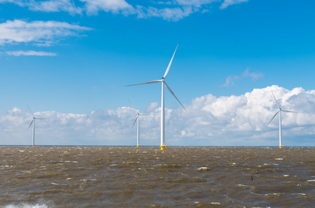 offshore windmill farm in the IJsselmeer at Urk, Netherlands Stock Photo