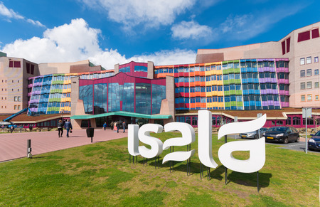 ZWOLLE, NETHERLANDS - APRIL 4, 2016: Colorful entrance of the Isala hospital. It is the largest non academic hospital in the netherlands with over 1,100 beds