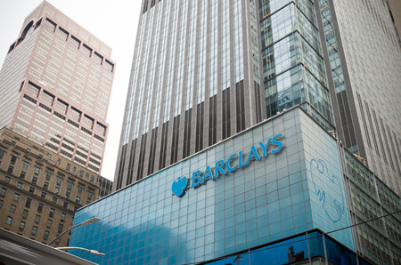 NEW YORK - APRIL 28, 2016: Barclays office building in manhattan. It is a British multinational banking and financial services company headquartered in London