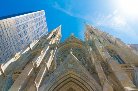 fifth avenue: exterior of St. Patricks cathedral on fifth avenue in manhattan.