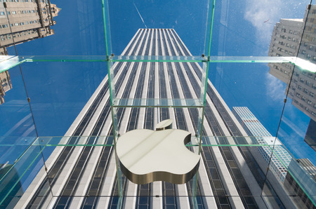 fifth avenue: NEW YORK - APRIL 30, 2016: Apple logo seen from inside the Apple store on 5th avenue