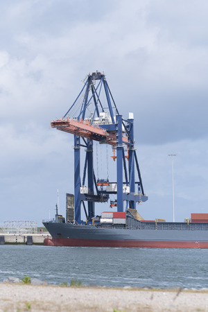 medium size container ship being unloaded in the rotterdam harbor