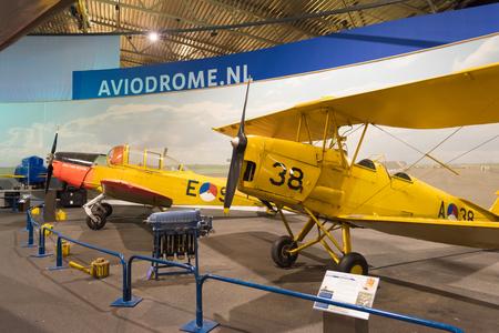 lelystad: LELYSTAD, NETHERLANDS - MAY 15, 2016: Haviland Tiger Moth in the aviodrome aerospace museum