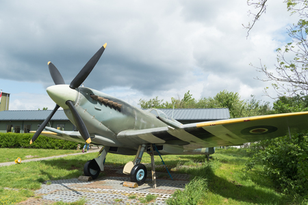 LELYSTAD, NETHERLANDS - MAY 15, 2016: Replica of a supermarine spitfire at the Aviodrome aerospace museum Editorial