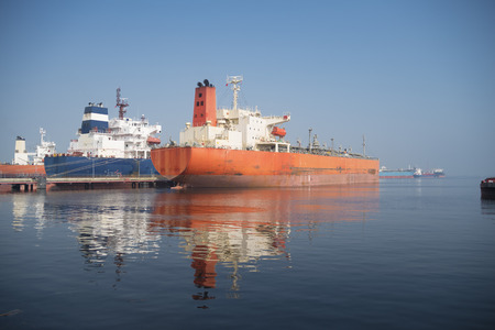 Large chemical tankers in the Port of Amsterdam, the 4th largest harbor of europe Stock Photo
