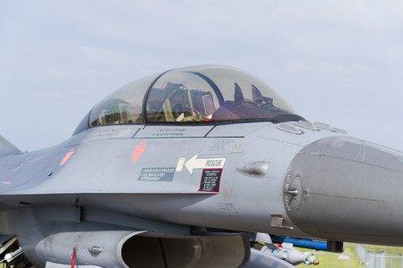 LEEUWARDEN, NETHERLANDS - JUNE 6, 2016: detail of an F-16 fighting falcon at the Dutch Air Force open days. Editorial