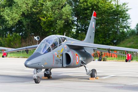 interceptor: LEEUWARDEN, NETHERLANDS - JUNE 10, 2016: parked dassault-dornier alpha jet fighter at the dutch air force open days Editorial