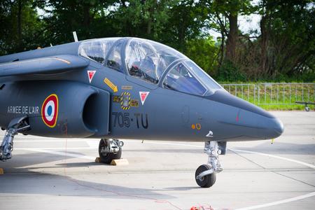 LEEUWARDEN, NETHERLANDS - JUNE 10, 2016: parked dassault-dornier alpha jet fighter at the dutch air force open days Editorial