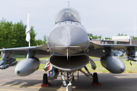 noord brabant: LEEUWARDEN, NETHERLANDS - JUNE 10, 2016: Nose of an F16 fighting falcon during the dutch air force open days