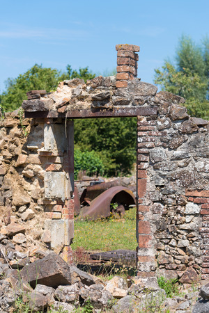 tribute: The ruins of Oradour-sur-glane, the by the nazis destroyed french village in WW2