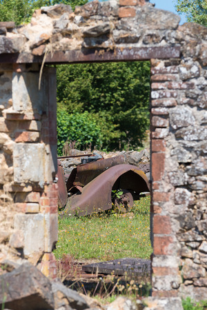 nazis: The ruins of Oradour-sur-glane, the by the nazis destroyed french village in WW2