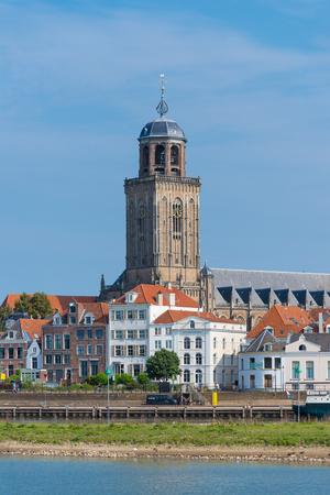 ijssel: view on the medieval dutch city of Deventer with the Lebuinus church in the center