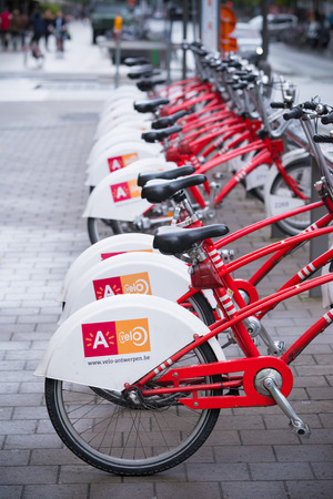 ANTWERP, BELGIUM - OCTOBER 2, 2016: With 1000 bicycles and 80 stations, Velo is among the largest bike sharing systems worldwide.