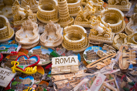 ROMA, ITALY - OCTOBER 16, 2016: Collection of rome fridge magnets on a large table Sajtókép