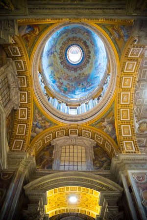 VATICAN CITY, VATICAN - OCTOBER 18, 2016: Interior of the famous St Peters basilica. It is an Italian Renaissance church in Vatican City, the papal enclave within the city of Rome. Editorial