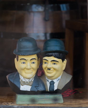 OOTMARSUM, NETHERLANDS - DECEMBER 3, 2016: Bust of Laurel and Hardy in a shop window